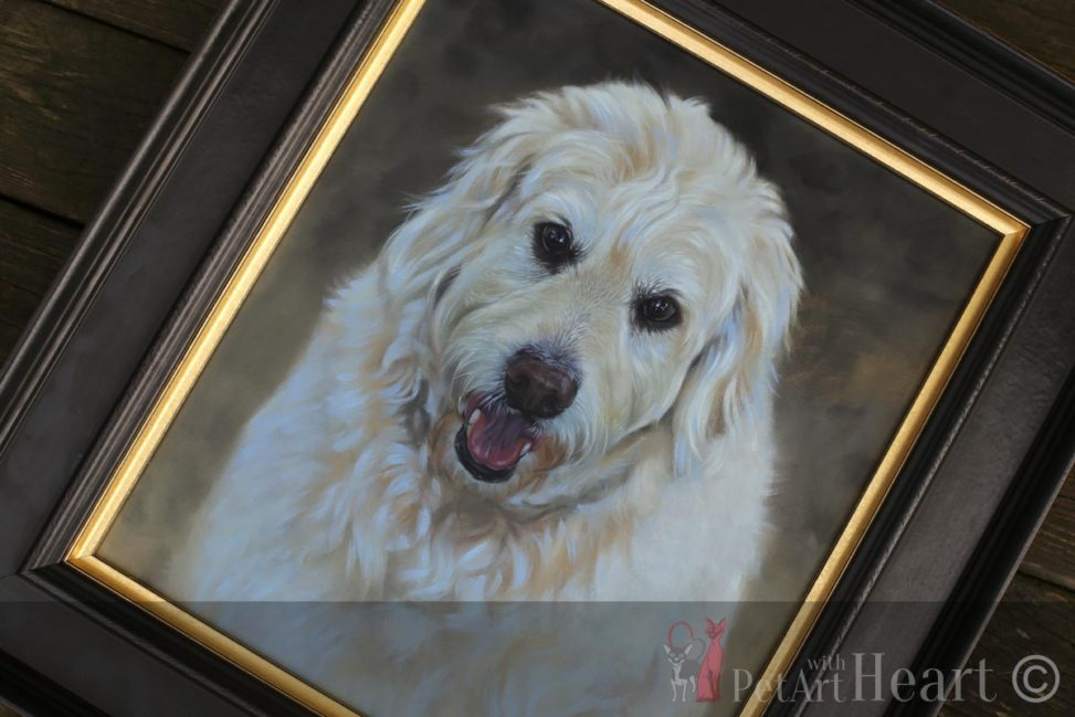 Framed dog oil portrait oliver