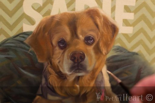 oil portrait dog blockin in stage sadie