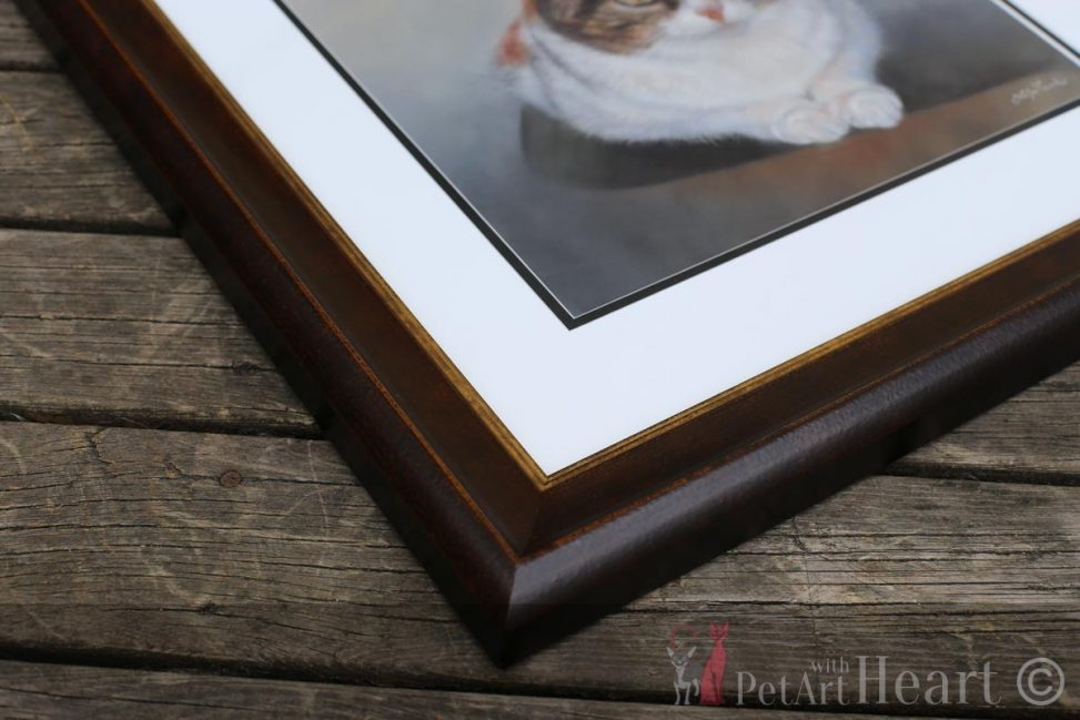 framed cat portrait pastel
