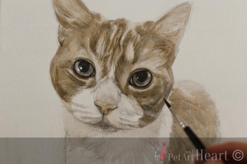 cat portrait oil progress