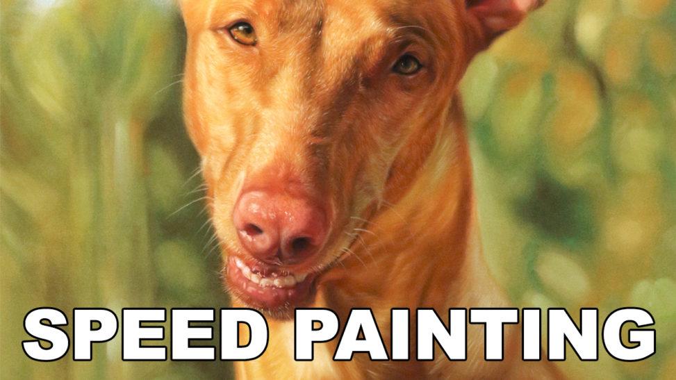speed painting video pastel pharaoh hound