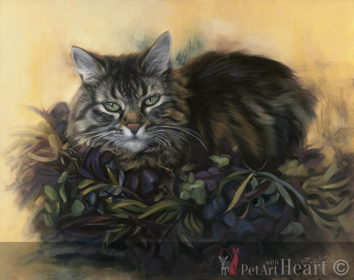 Cat Portrait in Oils TigerLily