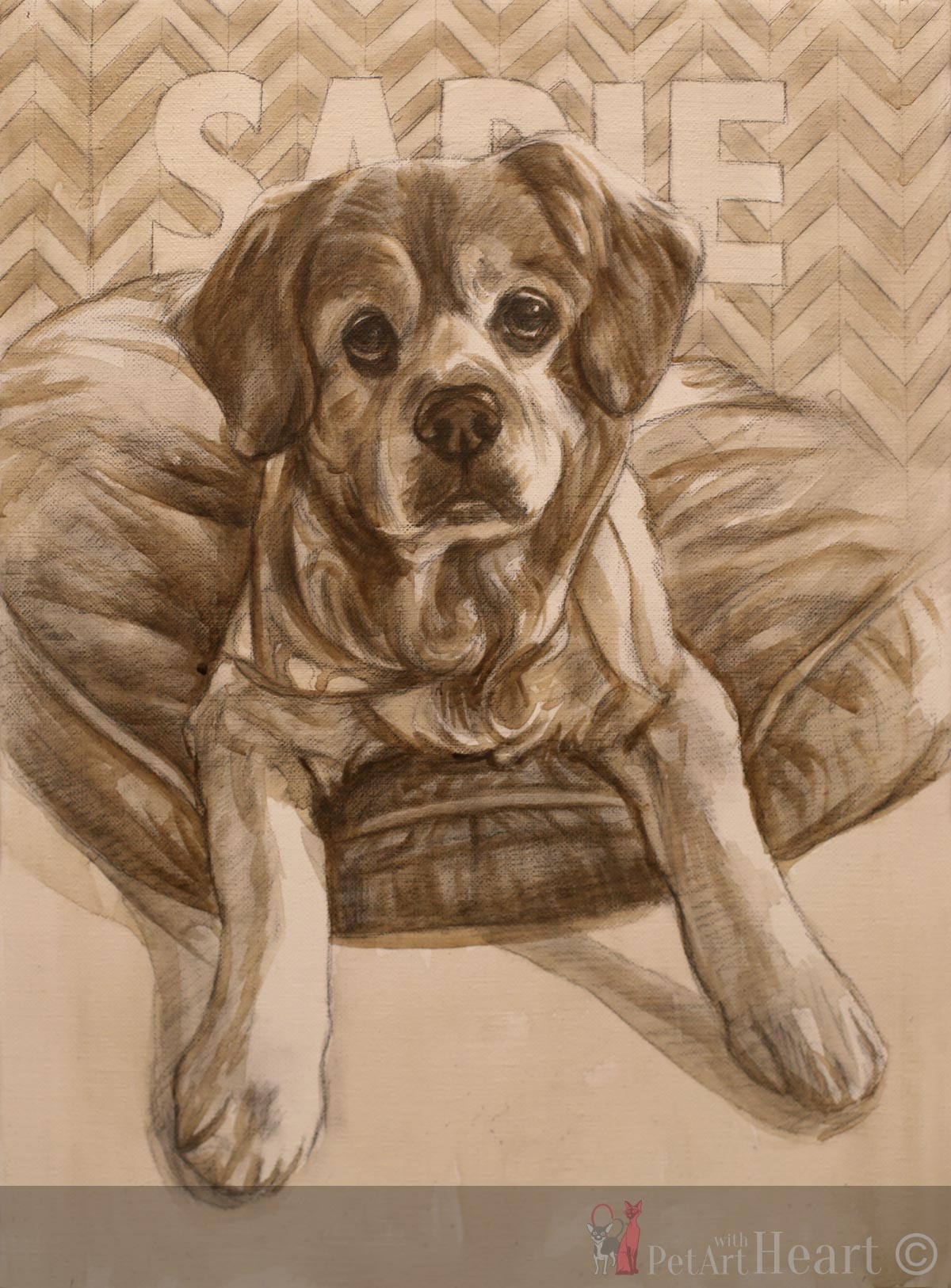 Dog on bed oil painting progress