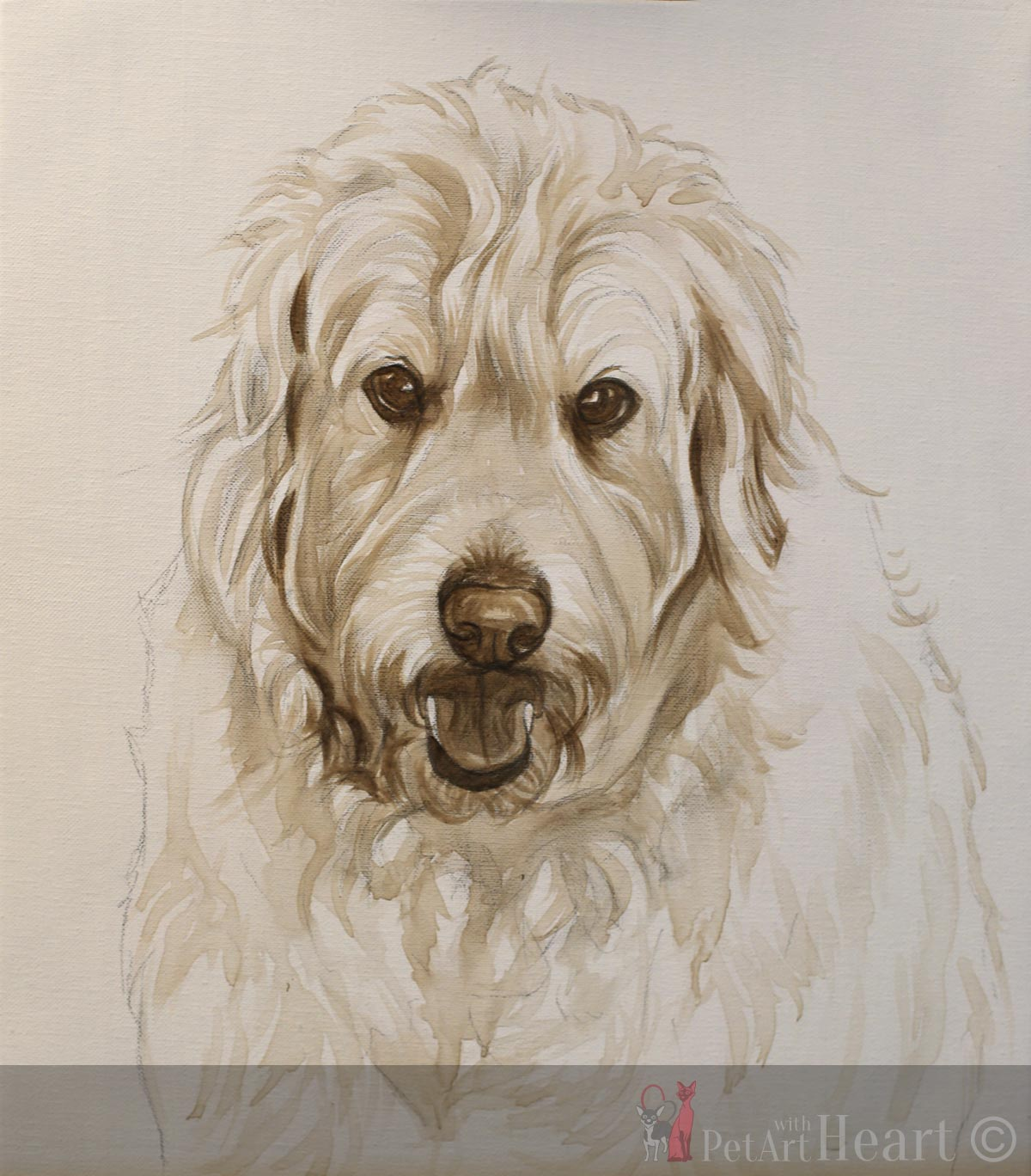 dog painting oliver initial stage