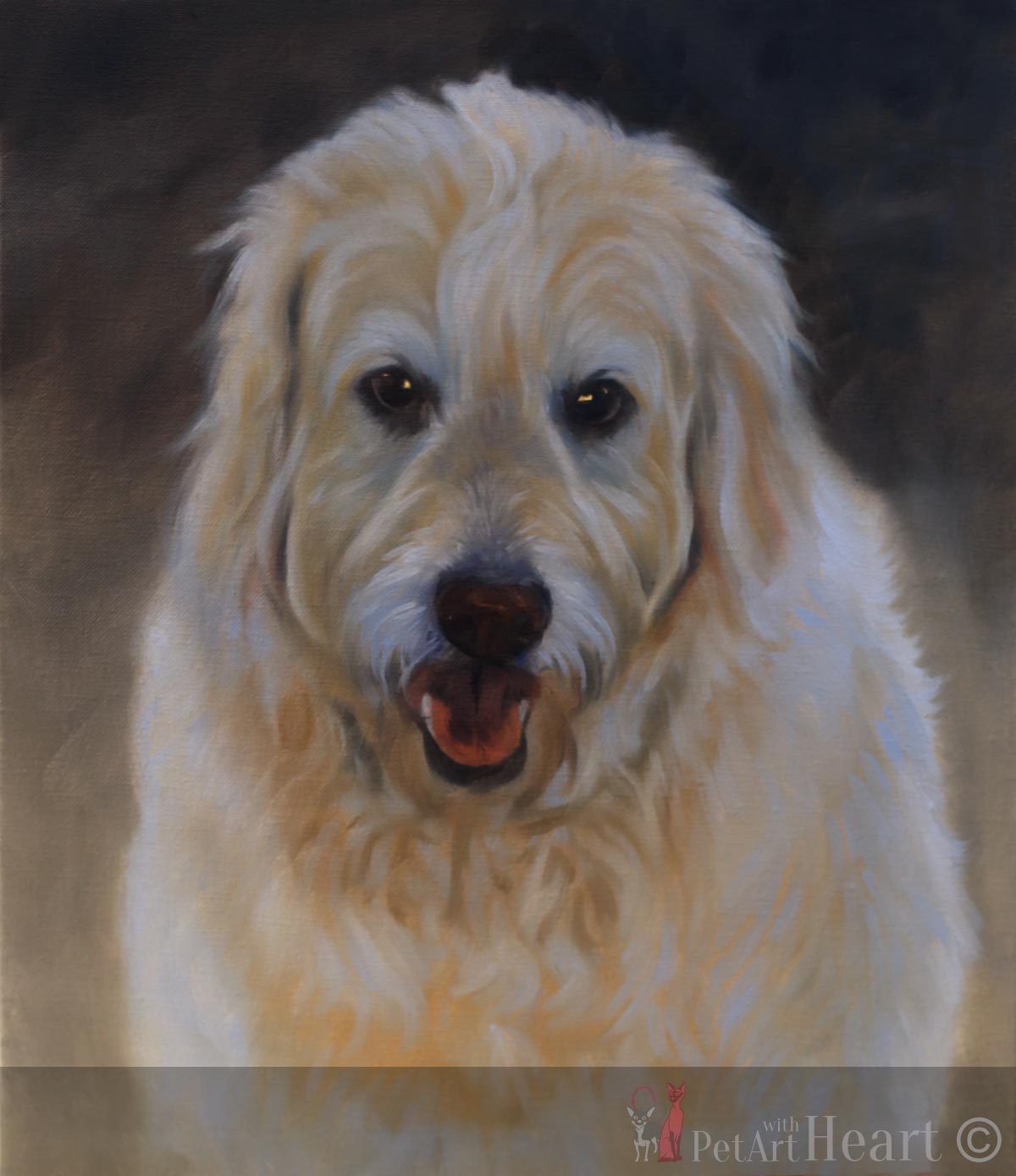 dog portrait oils progress