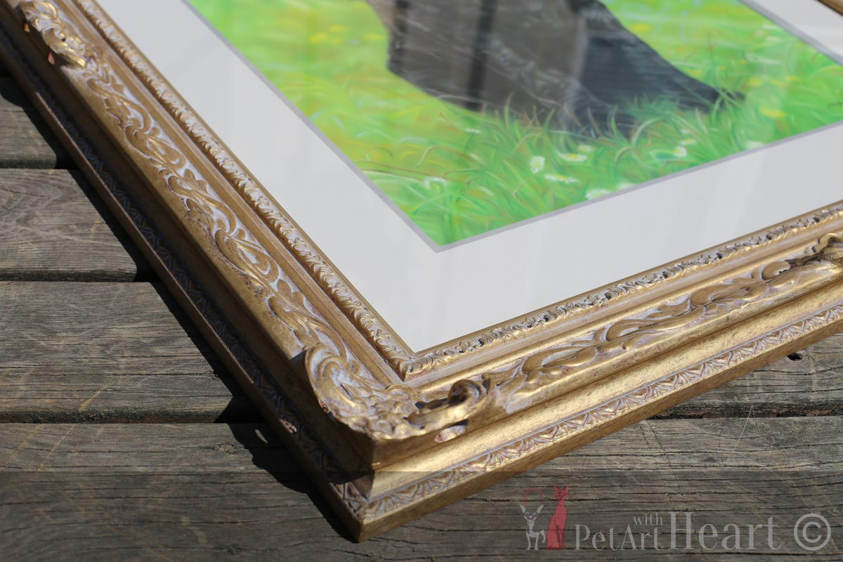 framed cocker spaniel pastel portrait