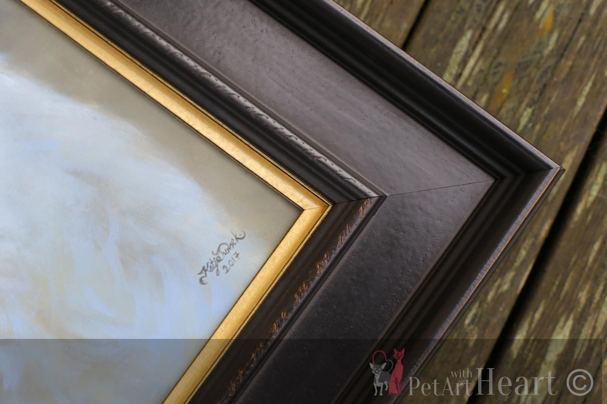 framed dog oil portrait