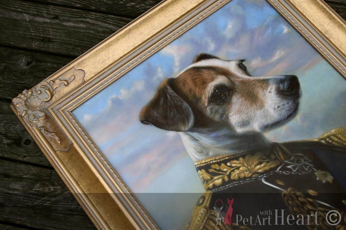 Framed dog in uniform oil painting