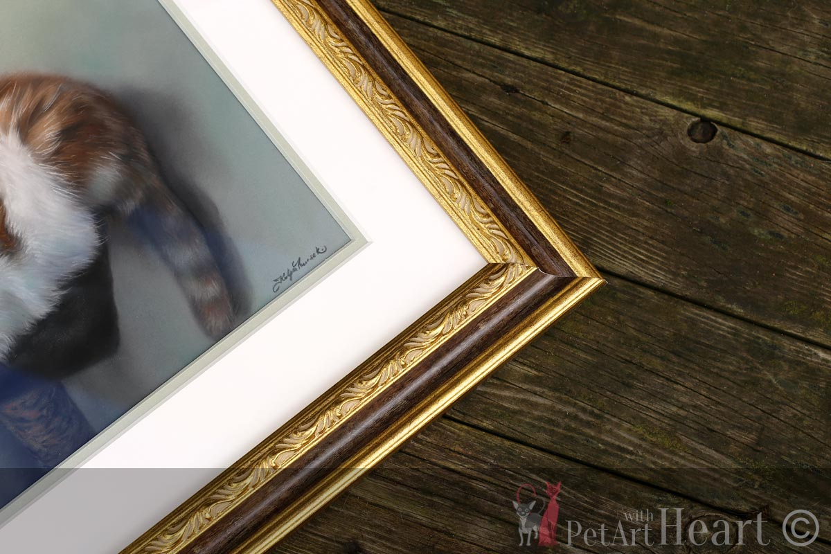 framed pastel cat portrait