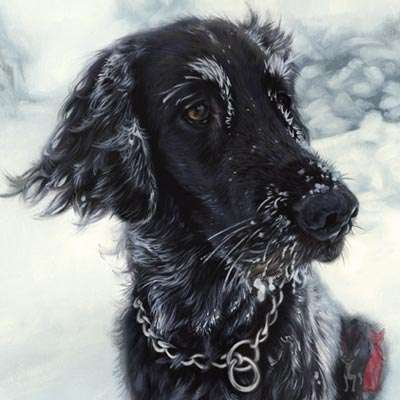 flat coated retriever oil painting