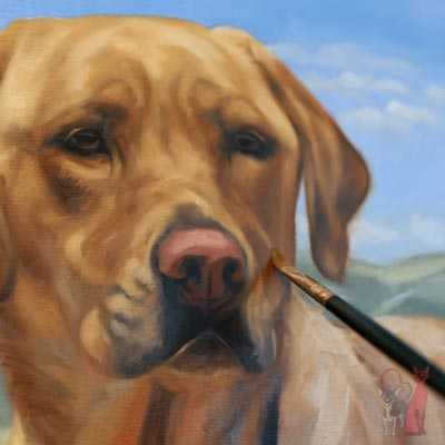 pet portrait progress oil Mazie