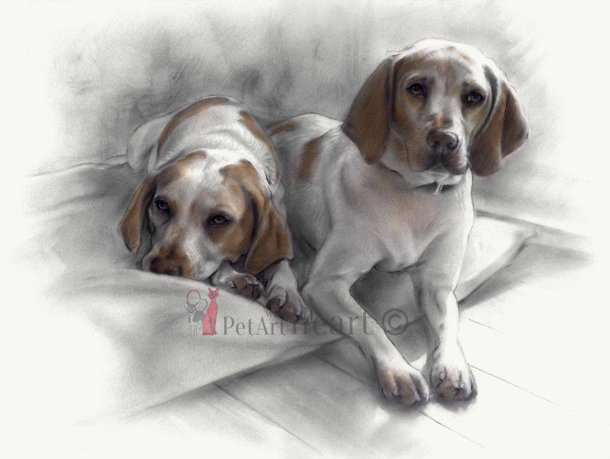 Lemon Beagles in pastel
